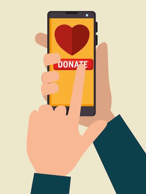Smartphone para donación de caridad en línea vector gratuito
