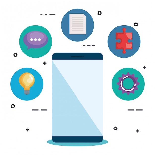 Smartphone con elementos empresariales vector gratuito