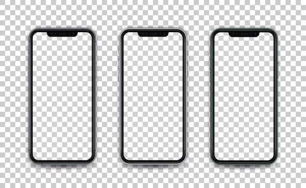Smartphone en estilo realista con pantalla vacía aislada. plantilla para la presentación de la aplicación de diseño ui ux. Vector Premium