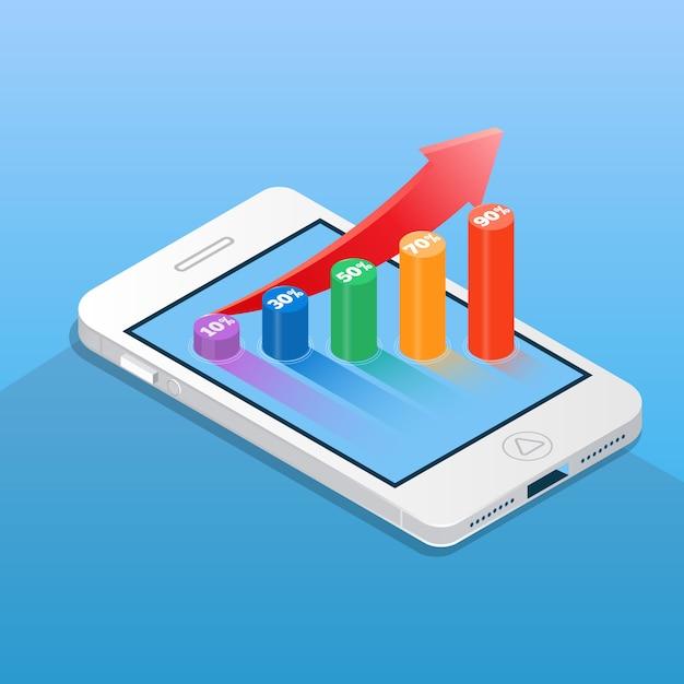 Smartphone con gráfico de barras financieras. ilustración de vector de concepto de negocios y finanzas en estilo isométrico Vector Premium