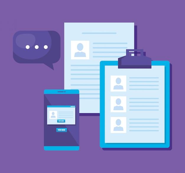 Smartphone con iconos de marketing en redes sociales vector gratuito