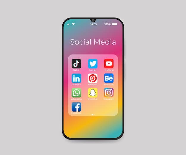 Smartphone con iconos de plegado de redes sociales vector gratuito
