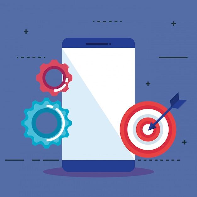 Smartphone con iconos de seo vector gratuito