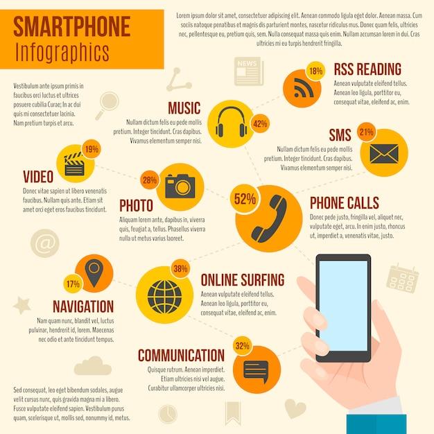 Smartphone infografía conjunto vector gratuito