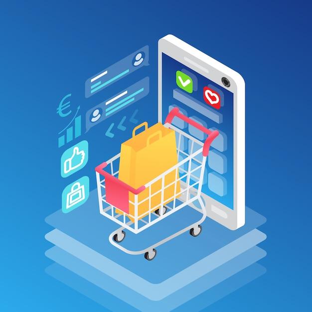 Smartphone isométrico y carro de compras con bolsa vector gratuito