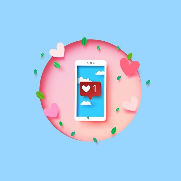 Smartphone Con Mensaje Emoji De Amor Y Corazón En La Pantalla