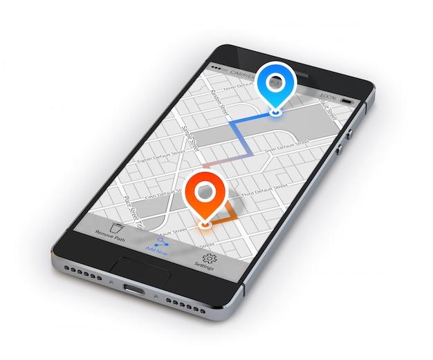 Smartphone de navegación móvil vector gratuito