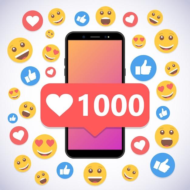 Smartphone con notificación 1000 likes y sonríe para redes sociales. Vector Premium