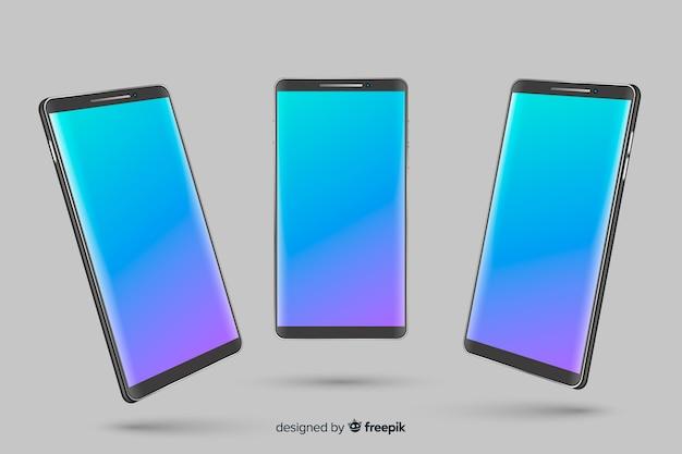 Smartphone realista en diferentes puntos de vista vector gratuito