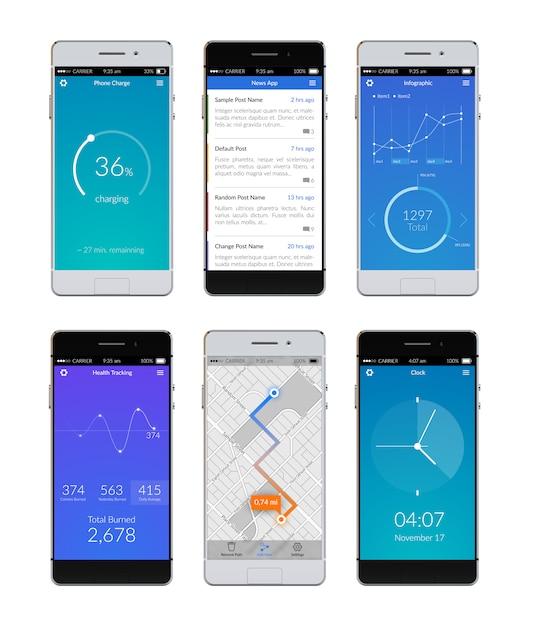 Smartphone ui set vector gratuito