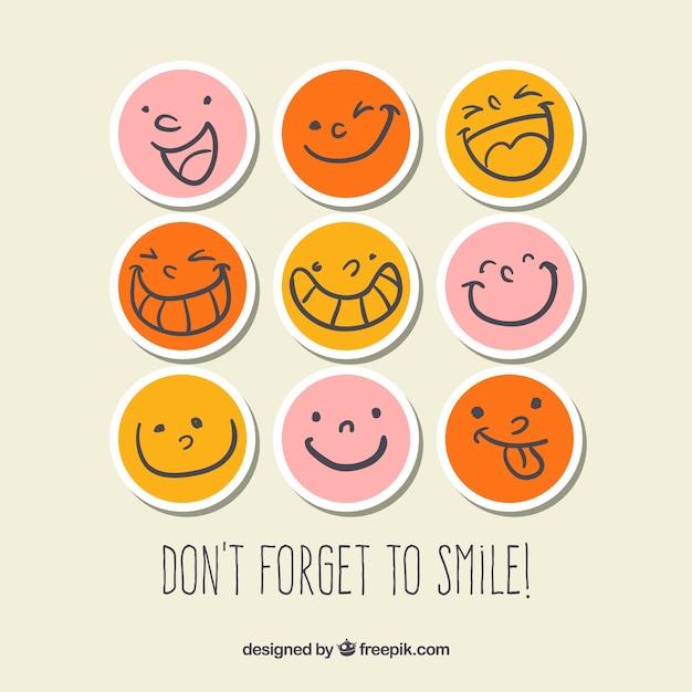 Smiley pegatinas Vector Premium