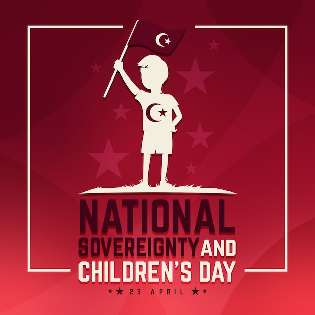 Soberanía nacional y día del niño y bandera Vector Premium