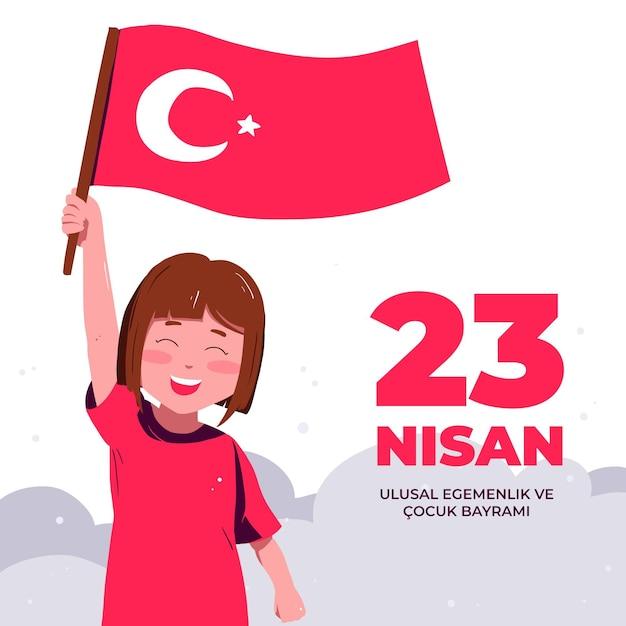 Soberanía nacional e ilustración del día del niño con niña y bandera. vector gratuito