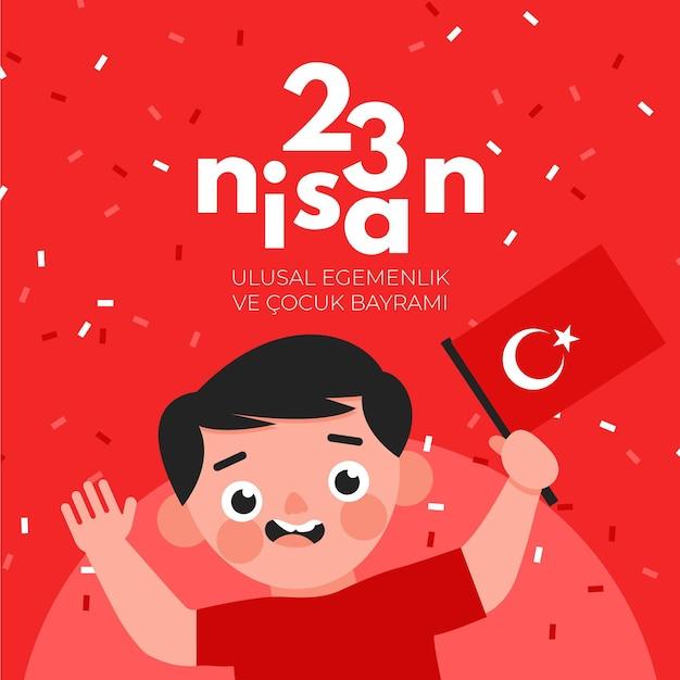 Soberanía nacional e ilustración del día del niño con niño y bandera. vector gratuito