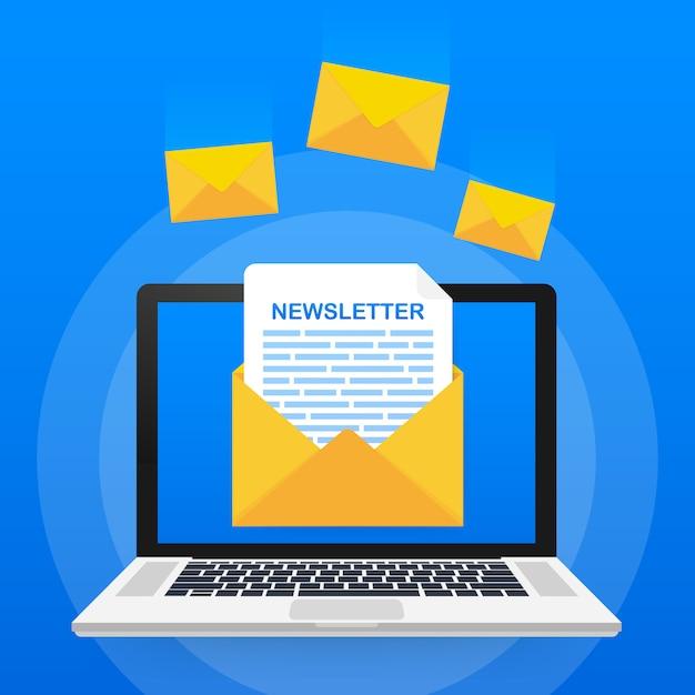 Sobre con un concepto de boletín. mensaje abierto con el documento. suscríbase al concepto de boletín informativo Vector Premium
