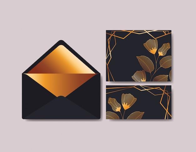 Sobre con invitación y decoración floral. vector gratuito