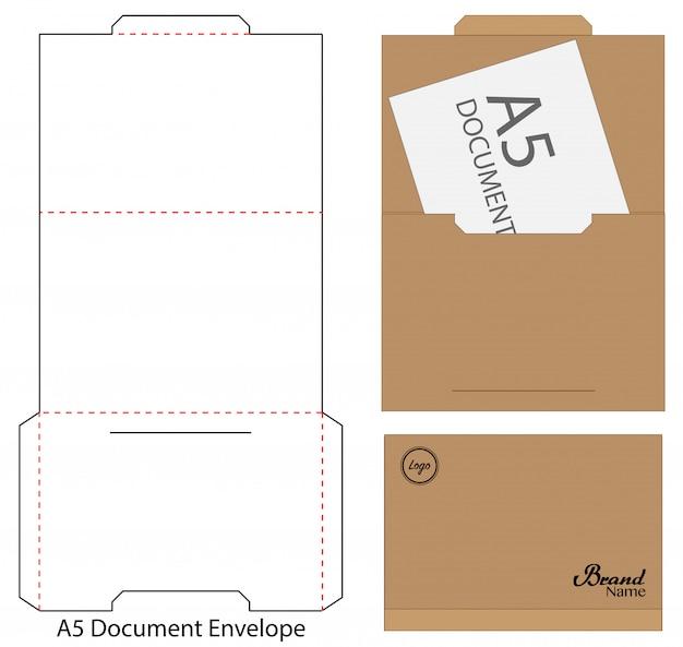 Sobre troquelado maqueta ilustración vectorial plantilla. Vector Premium
