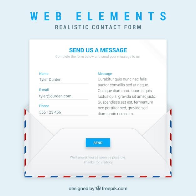 Sobre y plantilla de email con formulario de contacto   Descargar ...