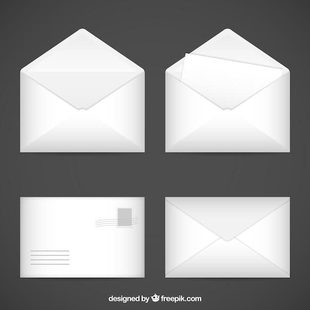 Los sobres blancos vector gratuito