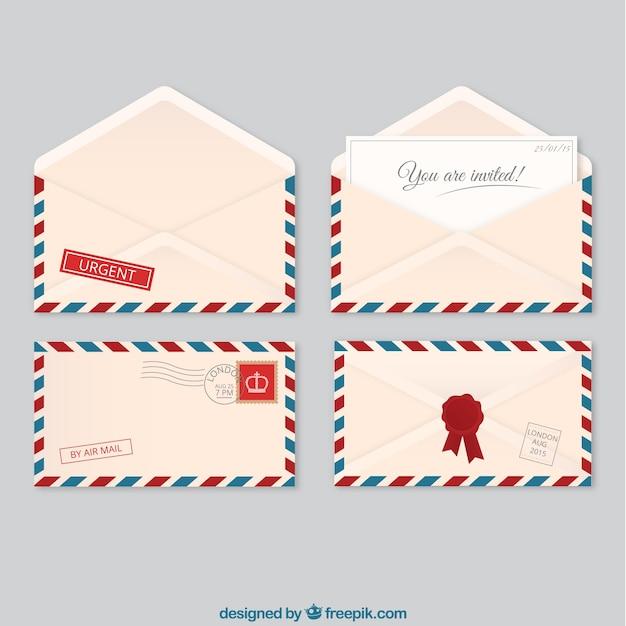 Sobres del correo aéreo vector gratuito