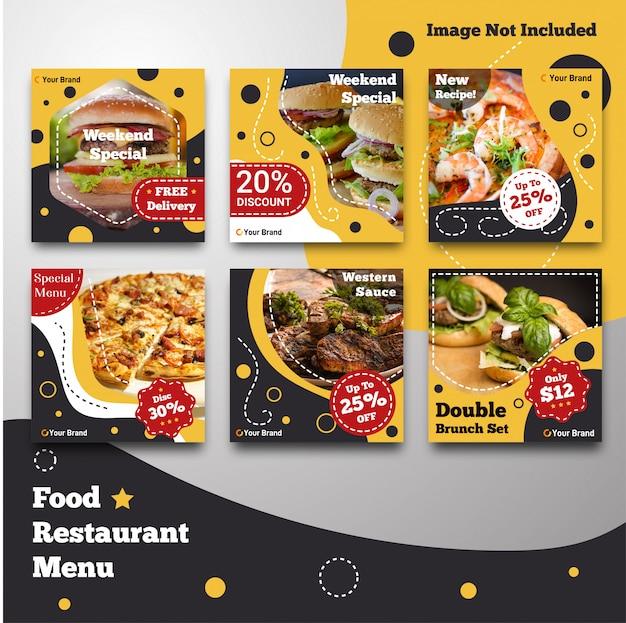 Social media comida instagram post restaurante menú plantilla Vector Premium