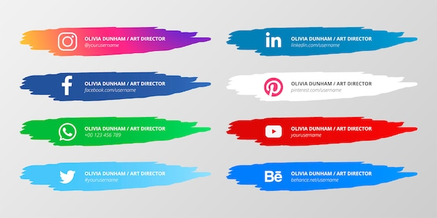Social media lower third collection con salpicaduras de pintura vector gratuito