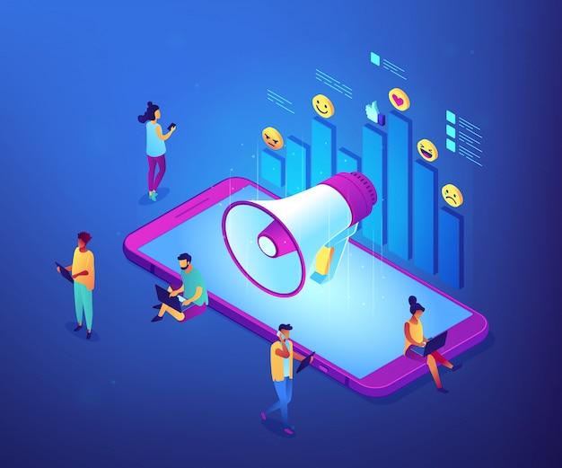 Social media marketing isométrico ilustración del concepto 3d. Vector Premium