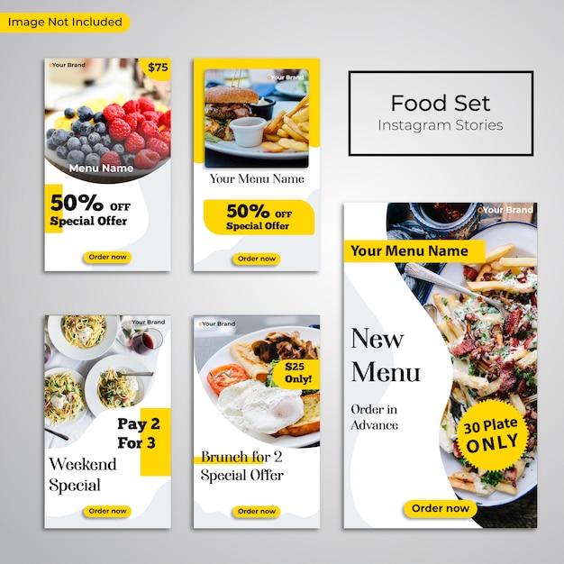 Social media publicar instagram historias comida restaurante banner Vector Premium