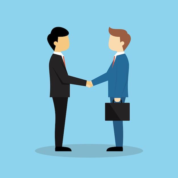 Sociedad de negocios agitar las manos ilustración Vector Premium