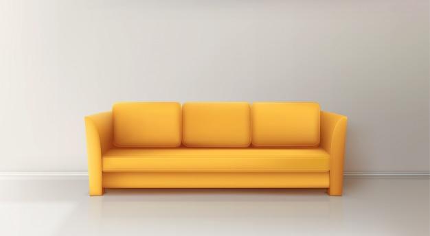 Sofá amarillo realista vector gratuito