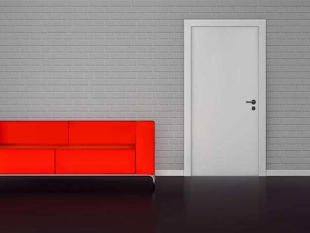 Sofá rojo realista vector gratuito