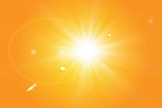 Sol cálido sobre un fondo amarillo. rayos solares leto.bliki. Vector Premium
