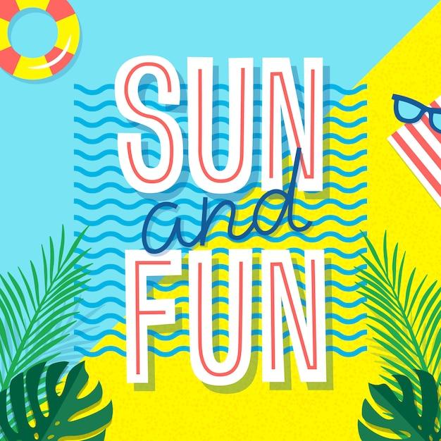 Sol y diversión. cartel de verano impresión tropical con texto y elementos de vacaciones: hojas de palma, gafas de sol y círculo de natación. Vector Premium