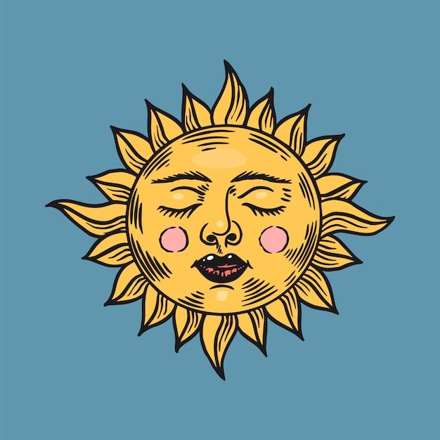 Sol durmiente místico. símbolo de astronomía, alquimia y astrología. gitano mágico Vector Premium