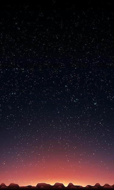 Sol naciente detrás de montañas y cielo estrellado vector gratuito
