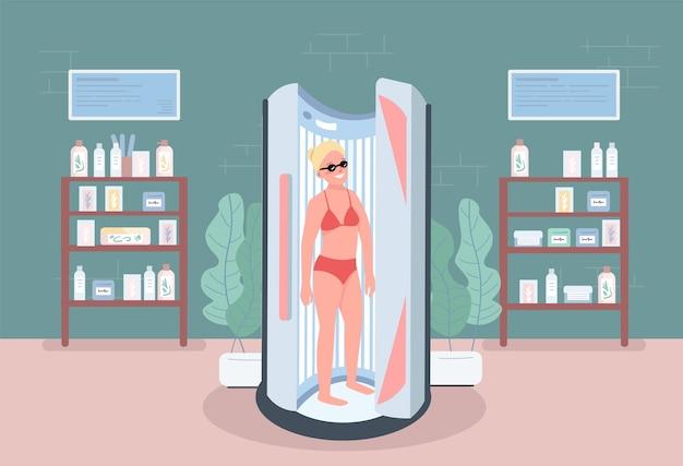 Solarium color plano. levántese hamaca. equipo de salón de spa para procedimientos. mujer con bronceado interior en centro de belleza personaje de dibujos animados 2d con muebles en el fondo Vector Premium