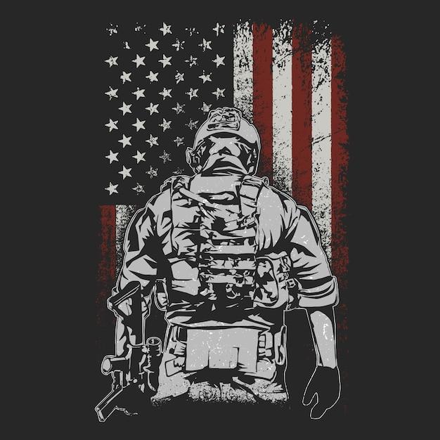 Soldado americano en el campo de batalla ilustración vectorial Vector Premium