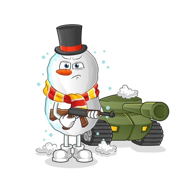 Soldado bulgogi con mascota de dibujos animados de tanque Vector Premium