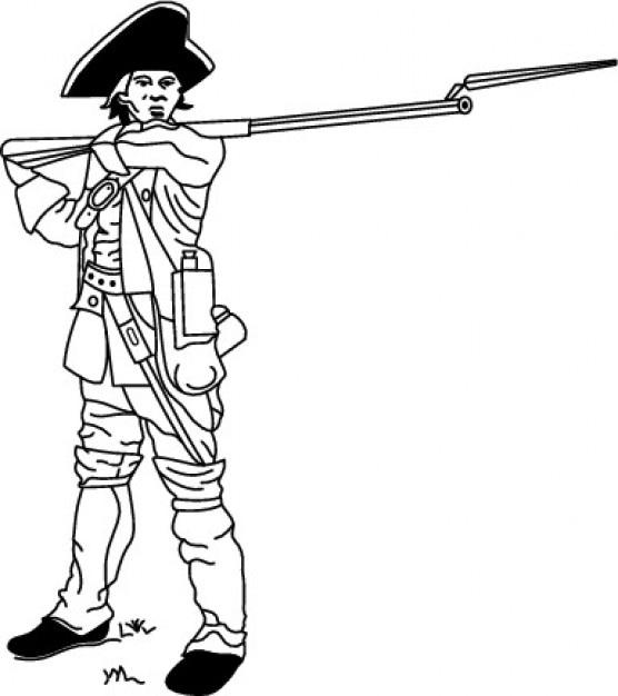 Soldado de la guerra civil con el brazo vector gratuito