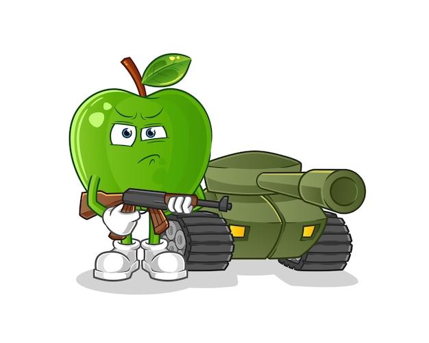Soldado manzana verde con carácter de tanque Vector Premium