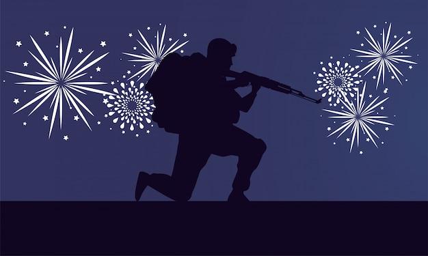 Soldado con silueta de figura de rifle y fuegos artificiales Vector Premium