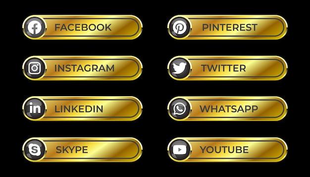 Sólido dorado brillante 3d medios sociales botón de degradado con icono redondo de facebook instagram linkedin pinterest skype twitter whatsapp youtube para ux ui y uso en línea Vector Premium
