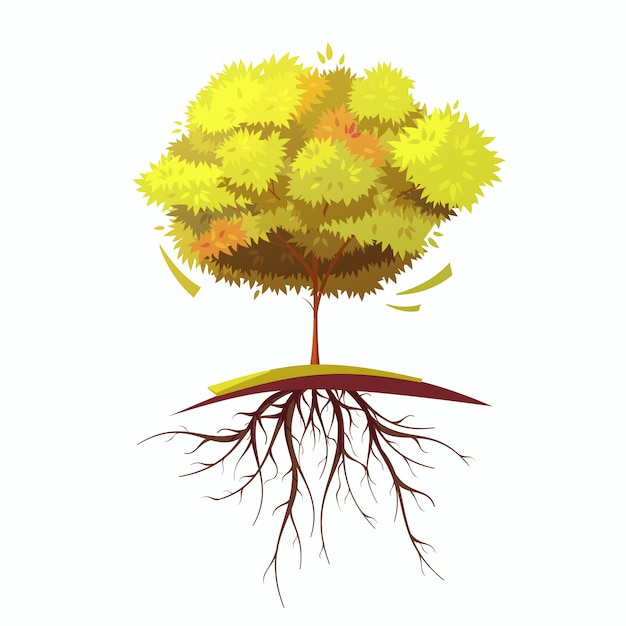 Un solo árbol de otoño vector gratuito