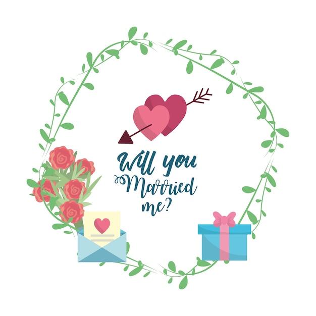 Solo casados corazones con arroe con mensaje romántico Vector Premium