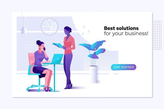 Soluciones de negocio, consultoría, marketing, concepto de soporte. Vector Premium