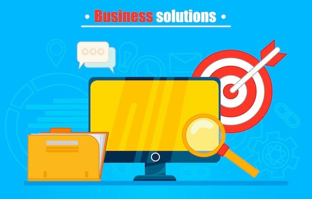 Soluciones de negocios banner o fondo. ordenador con carpeta, lupa, dardos. vector gratuito