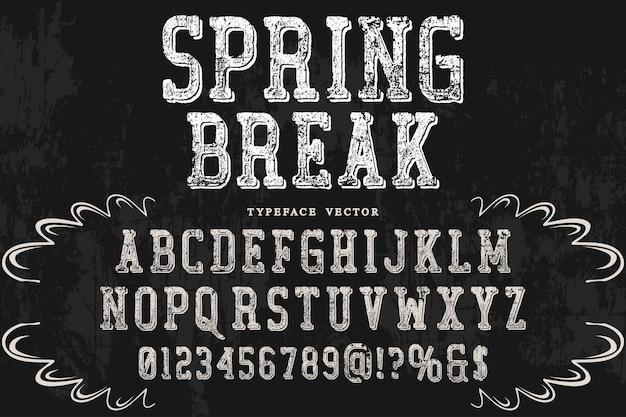 Sombra efecto alfabeto diseño primavera vacaciones Vector Premium