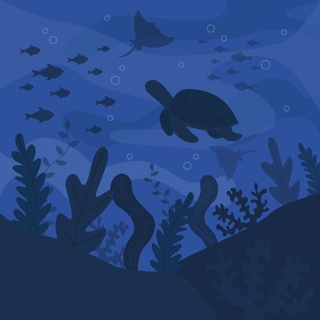 Sombras de azules criaturas submarinas día del océano Vector Premium