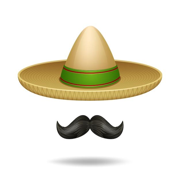 Sombrero y bigote conjunto de iconos decorativos de símbolos mexicanos vector gratuito