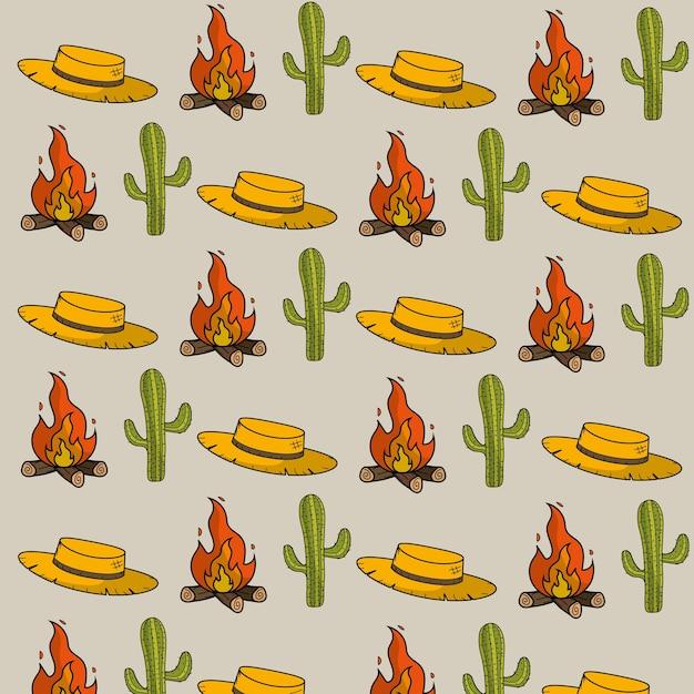 Sombrero, cactus y madera fuego cosas fondo Vector Premium